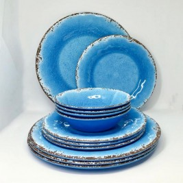 Set Plato Postre x4 Antique Azul