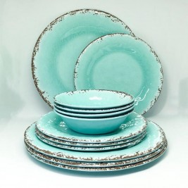 Set Plato Postre x4 Antique Aqua