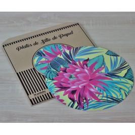 Pack Papel Plato de sitio/Individual Flor de Lotus