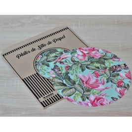 Pack Papel Plato de sitio/Individual Magnolia and Rose