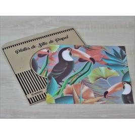 Pack Papel Plato de sitio/Individual Cuadrado Tucanes