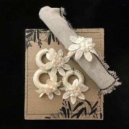Servilletero Flor Crochet x4